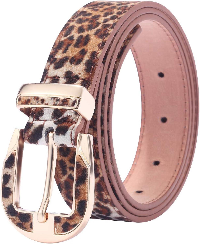 WODISON imitación de las mujeres correa de cuero con estampado de leopardo