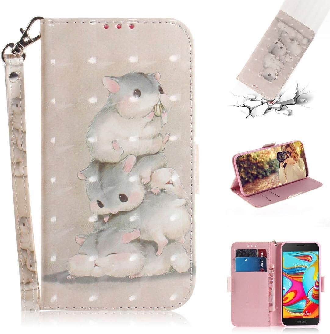 Proteja su teléfono celular Estuche de cuero con tiras de dibujo a color para dibujo en 3D para Galaxy A2 Core, con soporte y ranuras para tarjetas y cartera para el teléfono