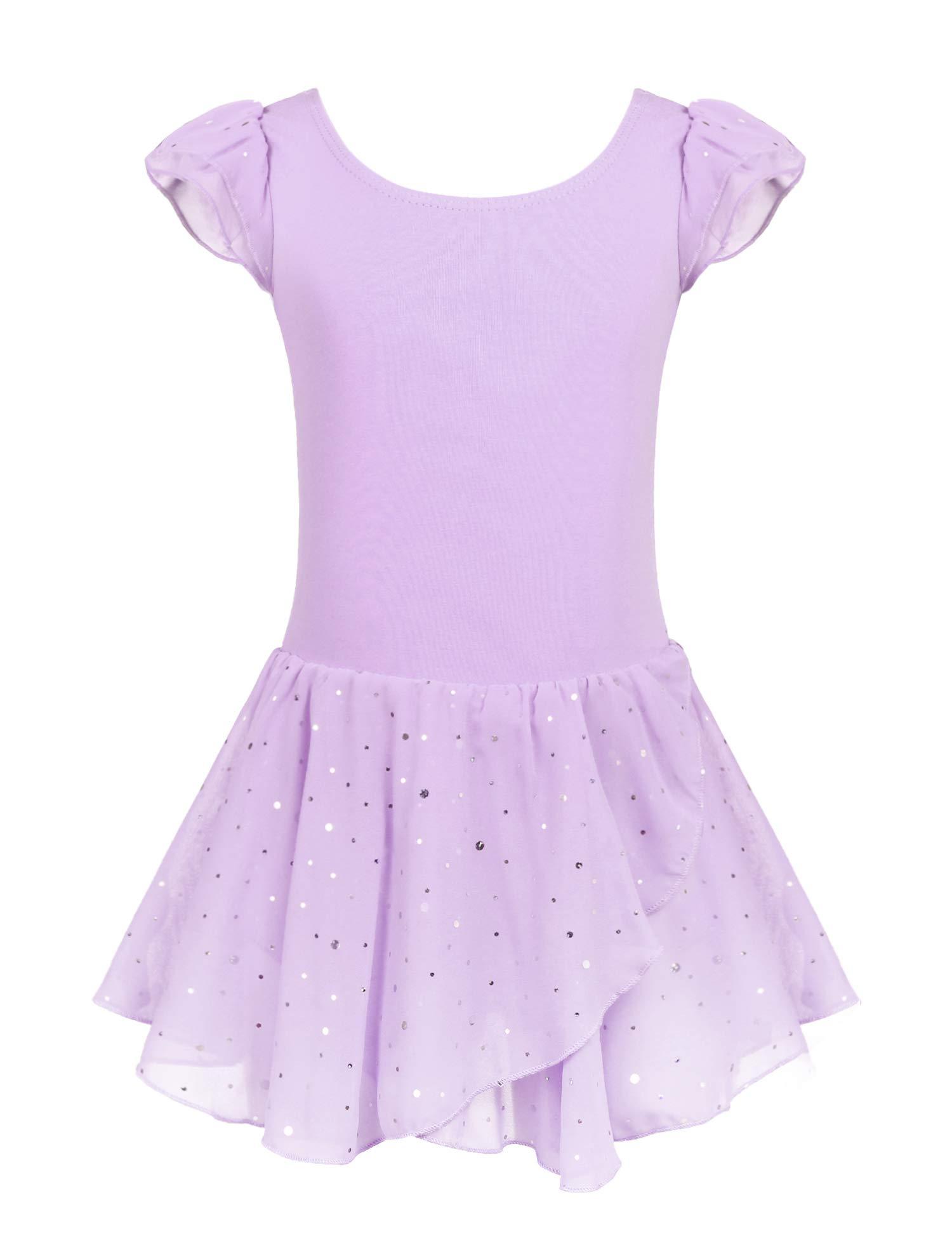 Arshiner Girls Ruffle Sleeve Ballet Dance Dress Tutu Skirted Leotard Lilac