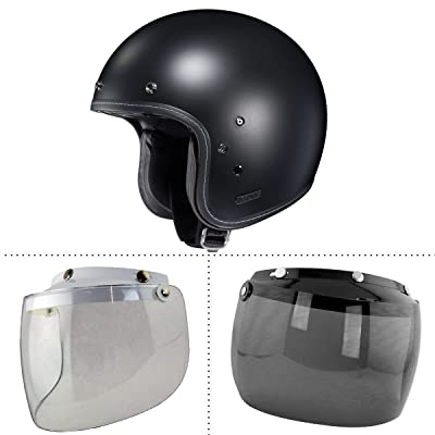 HJC IS-5 Flat Black Open Face Helmet with Outlaw N-10 Clear and Dark Tinted Sh - X-Small w/ N-10-Clear-Dark-Shields