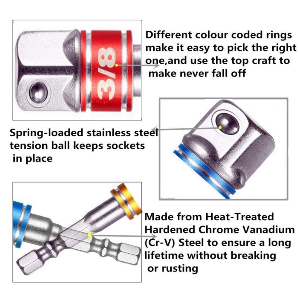 Nuluxi V/ástago Cuadrado Socket Adaptador Adaptador de Llave de Cubo Hexagonal Hexagonal Adaptador de Enchufe Set Adecuado para los Usuarios de DIY y Profesionales 3 unids 1//4 3//8 1//2Adaptador )