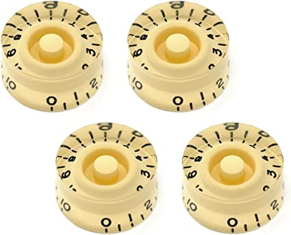 4-Pack Clear Speed Knobs Vintage Style Embossed Numbers for Gibson Les Paul NEW