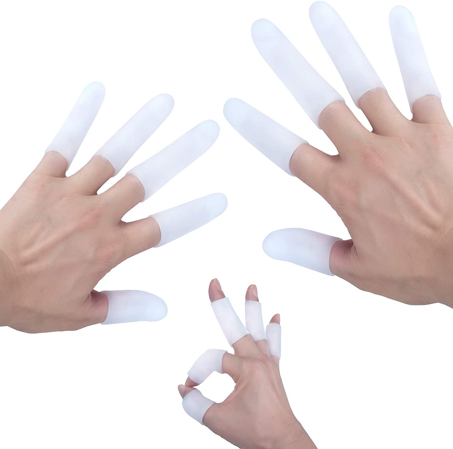 White Finger Cot Gel Finger Protector Finger Brace Support Finger Gloves Waterproof Finger Eczema Bandages for Trigger Finger Hand Eczema Finger Cracking Finger Arthritis