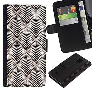 KLONGSHOP / Tirón de la caja Cartera de cuero con ranuras para tarjetas - Brown Pattern Wallpaper Retro - Samsung Galaxy S5 Mini, SM-G800, NOT S5 REGULAR!