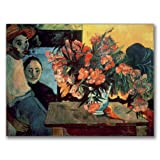 This ready to hang, gallery-wrapped art piece features a vase of flowers. Paul Gauguin was a leading Post-Impressionist painter. His bold experimentation with coloring led directly to the Synthetist style of modern art while his expression of the inh...