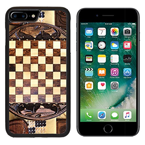 MSD Premium Apple iPhone 7 Plus Aluminum Backplate Bumper Snap Case IMAGE ID: 35308567 Checkerboard of the round shape made of wood and decorated with carvings Round Shape Checkerboard
