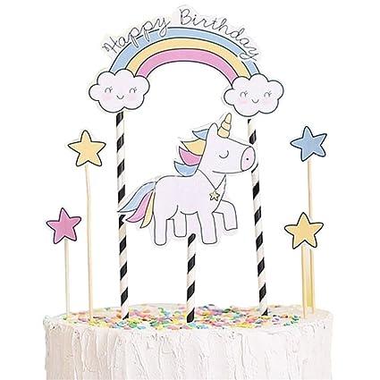 Unicorn Cake Topper KOOTIPS Cute Happy Birthday First Cupcake Smash Candle