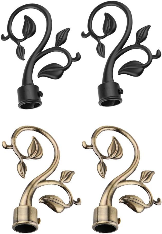 Noir Sharplace Paire Embout de Tringle /à Rideau de Branche Store en M/étal D/écor pour Maison H/ôtel Magasin 22mm