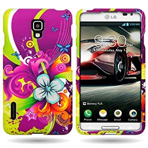 CoverON® Hard Slim Design Case for LG Optimus F7 - with Cover Removal Pry Tool - Purple Green Floral Medley