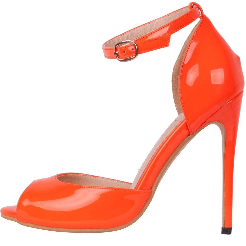 Calaier Damen Cajoin Mädchen Frauen Elegante Heels Einfache High Heels Elegante Stilettoabsatz Abendschuhe Party 11.5CM Stiletto Schnalle Sandalen Orange cf7372