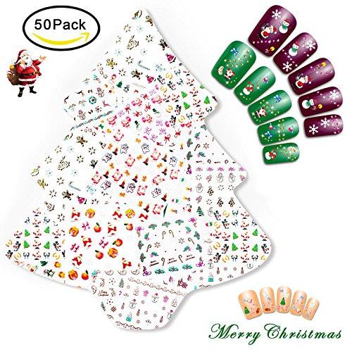 NiceDeco 50 Sheets (More Than 1500Pcs) Christmas & New Year Theme 3D Nail Stickers Santa Claus Reindeer Xmas Tree Nail Art Tattoo Nail Decals DIY Nail Art Decoration Self-adhesive Tip Stickers (Art Christmas Nail Tree)