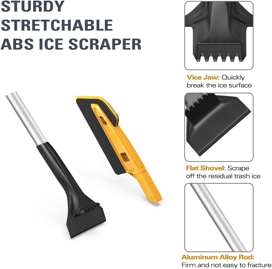 MoKo Ice Scraper Orange Car Snow Brush with Integrated Detachable Ice Scraper 26 Inch Snow Remover 2 in 1 Dual Head with Squeegee Windshield Snow Shovel Removal Clean Tools