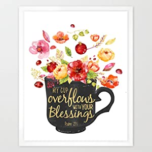 Eleville 8X10 My Cup Overflows with Your Blessings Real Gold Foil and Floral Watercolor Art Print (Unframed) Bible Quote Office Wall Art Home Decor Inspirational Holiday Birthday Wedding Gift WG048