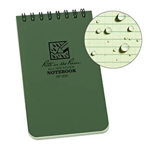 "Rite in the Rain Weatherproof Top-Spiral Notebook, 3"" x 5"", Green Cover, Universal Pattern (No. 935)"