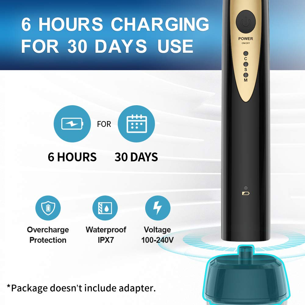 Fairywill Sonic Electric Toothbrush for Adults, with 2 DuPont Brush Heads Ultra-Powerful Cordless Rechargeable Dentist Recommended Whitening Toothbrush, Over 30 Days Long Battery Life by Fairywill (Image #3)