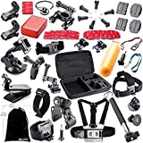 BAXIA TECHNOLOGY Ultimate Combo Accessories for GoPro HERO 4 3+ 3 2 1 Black Silver Accessories Bundle Kit for GoPro 4 3+ 3 2 1 SJ4000 SJ5000 SJ6000 Sports Camera Accessory Kit in Skiing Parachuting Swimming Rowing Surfing Climbing Running Bike Riding