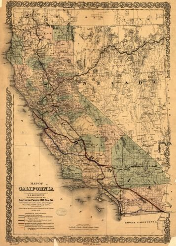 Map of California to accompany printed agreement of S. O. Houghton as to the rights of the Southern Pacific R.R. Co. of Cal. to government lands under Acts of Congress - Holidays March Odd In