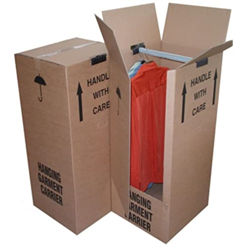 3 Tall Strong Wardrobe House Removal Moving Storage Boxes Containers With Garment Clothing Hanger Rail Size 51cm x 48cm x 125cm Thick Cardboard Dress Clothes Shirts Suit Packaging Packing Shipping Cartons