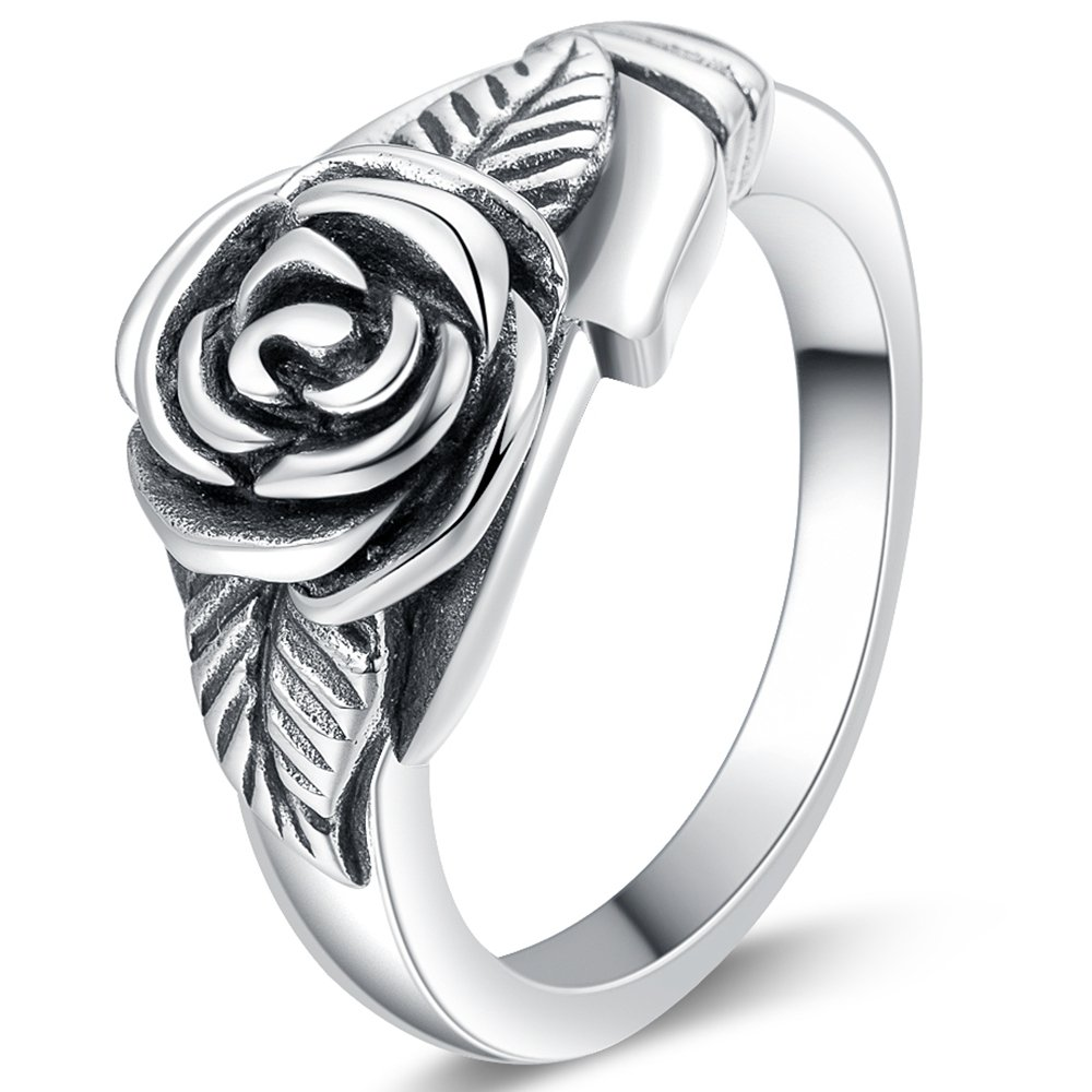 Jude Jewelers Retro Vintage Stainless Steel Flower Rose Promise Statement Cocktail Party Ring (Oxidized Silver, 5)
