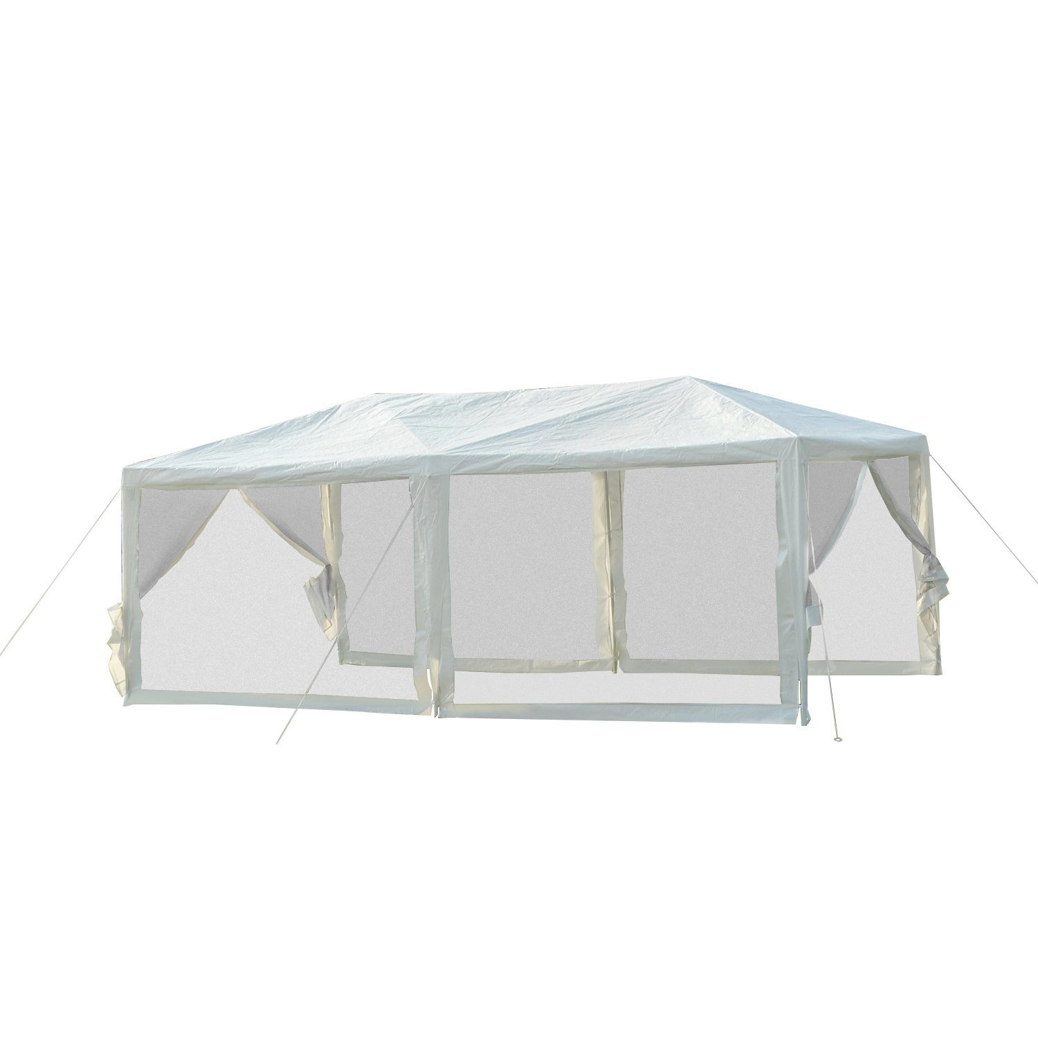 Outsunny 10' x 20' Gazebo Canopy Cover with Removable Mesh Side Walls - White