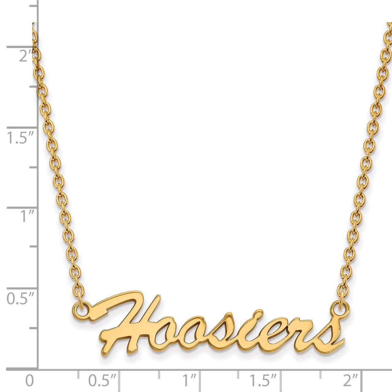 Lex /& Lu LogoArt Sterling Silver w//GP Indiana University Medium Pendant w//Necklace