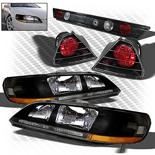 For 1998-2002 Accord 2dr Black Headlights + Altezza Style Tail Lights Full Combo 1999 2000 (02 Honda Accord 2dr Tail)