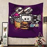 Gzhihine Custom tapestry Modern Decor Tapestry Cartoon like Cinema Movie Image Burgers Popcorns Glasses Art Print for Bedroom Living Room Dorm 60 W X 40 L Plum Ginger Dimgrey
