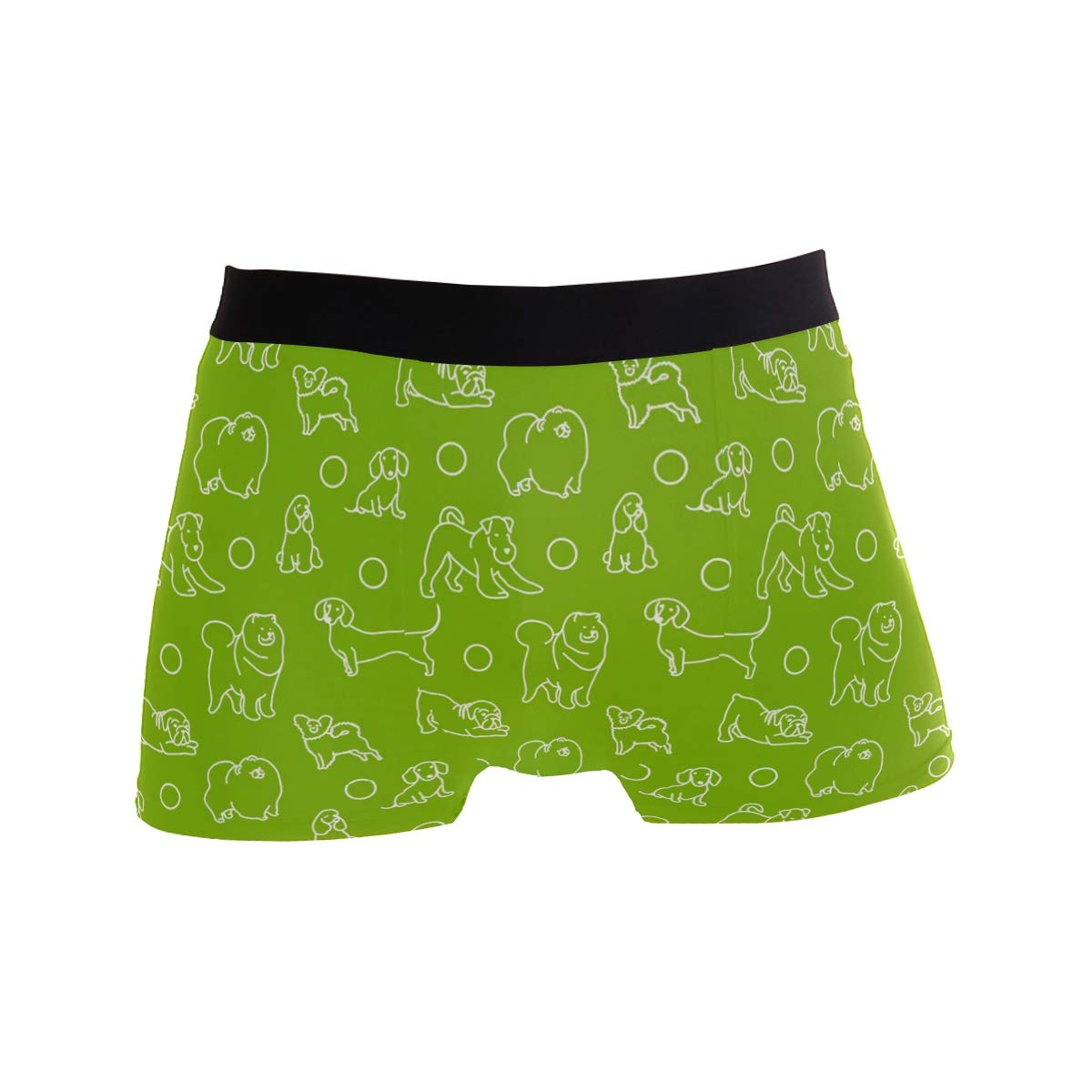 Mens Cute Dogs On The Green Background Underwear Boxer Briefs Ultra Soft Comfortable