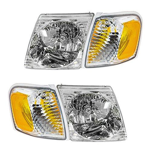 Headlight Headlamp Park Light Lamp Kit Set of 4 for Ford Explorer Sport ()