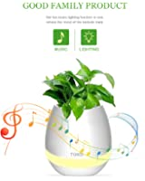 Fioriera musica Pathonor Vaso di pianta plastica Altoparlante bluetooth Sette colori lampada toccare Vaso di Fiori Pianta per ufficio, soggiorno Bianco