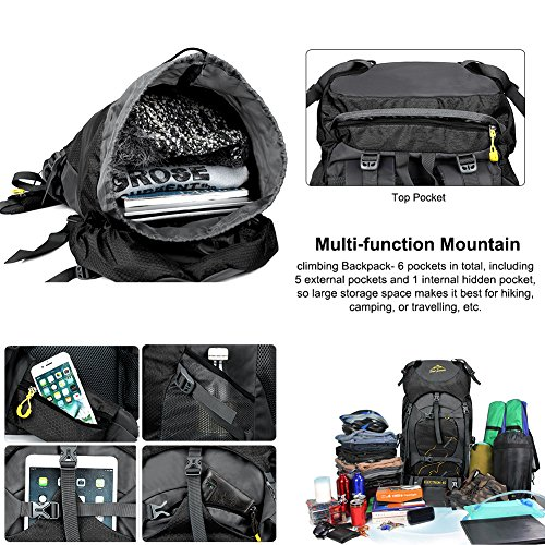 Vbiger 60L Outdoor Backpack Waterproof Backpacking Pack Travel Daypack for Climbing, Hiking, Trekking, Mountaineering, with Rain Cover (Black) by VBIGER (Image #3)