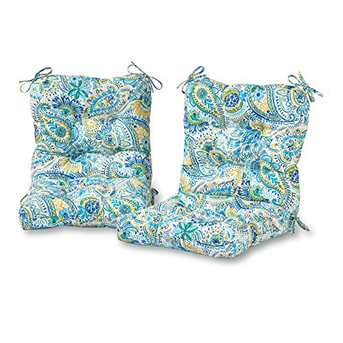 - Greendale Home Fashions Outdoor Seat/Back Chair Cushion in Painted Paisley (set of 2), Baltic