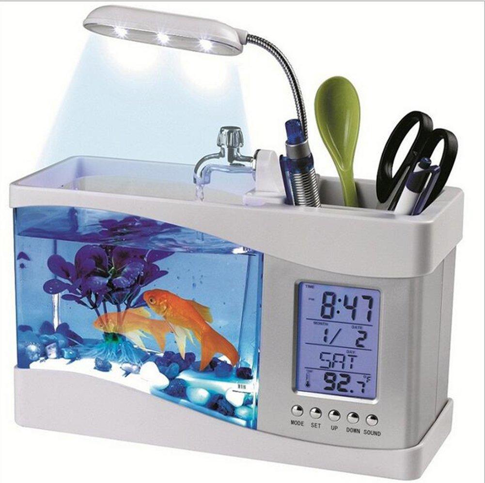 una marca di lusso Cutepet Aquarium Fish Tank LED orologio Calendario Calendario Calendario Mini USB 24 X 10x19cm FA-94087,bianca  il più alla moda