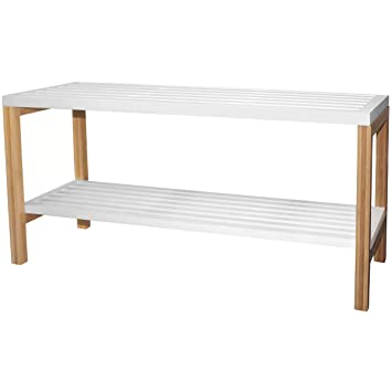 Promobo Regal Bank Badezimmer 2 Ebenen aus Bambus, Weiß ...