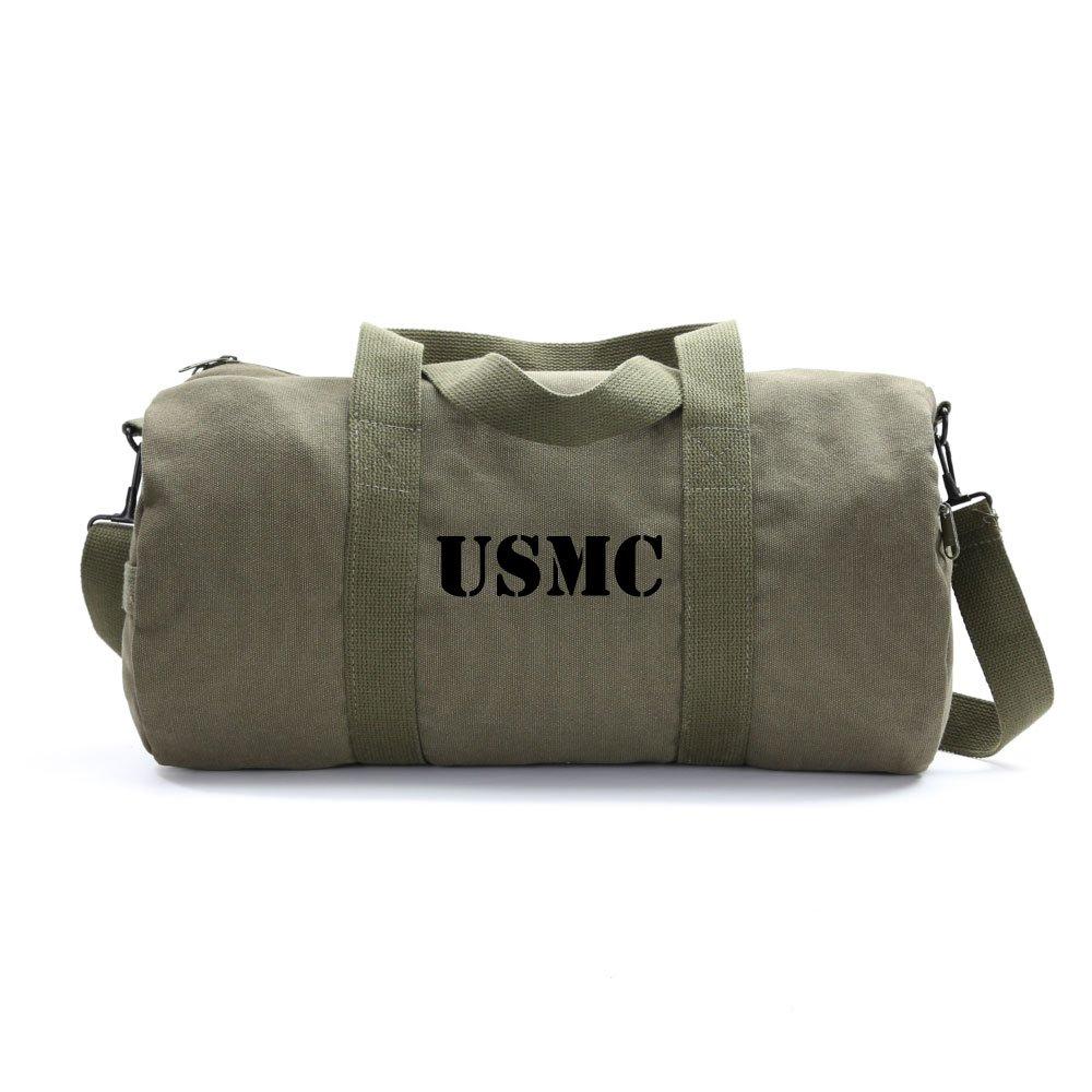 USMC United States Marine Corps Text Army Sport Heavyweight Canvas Duffel Bag in Olive & Black, Medium