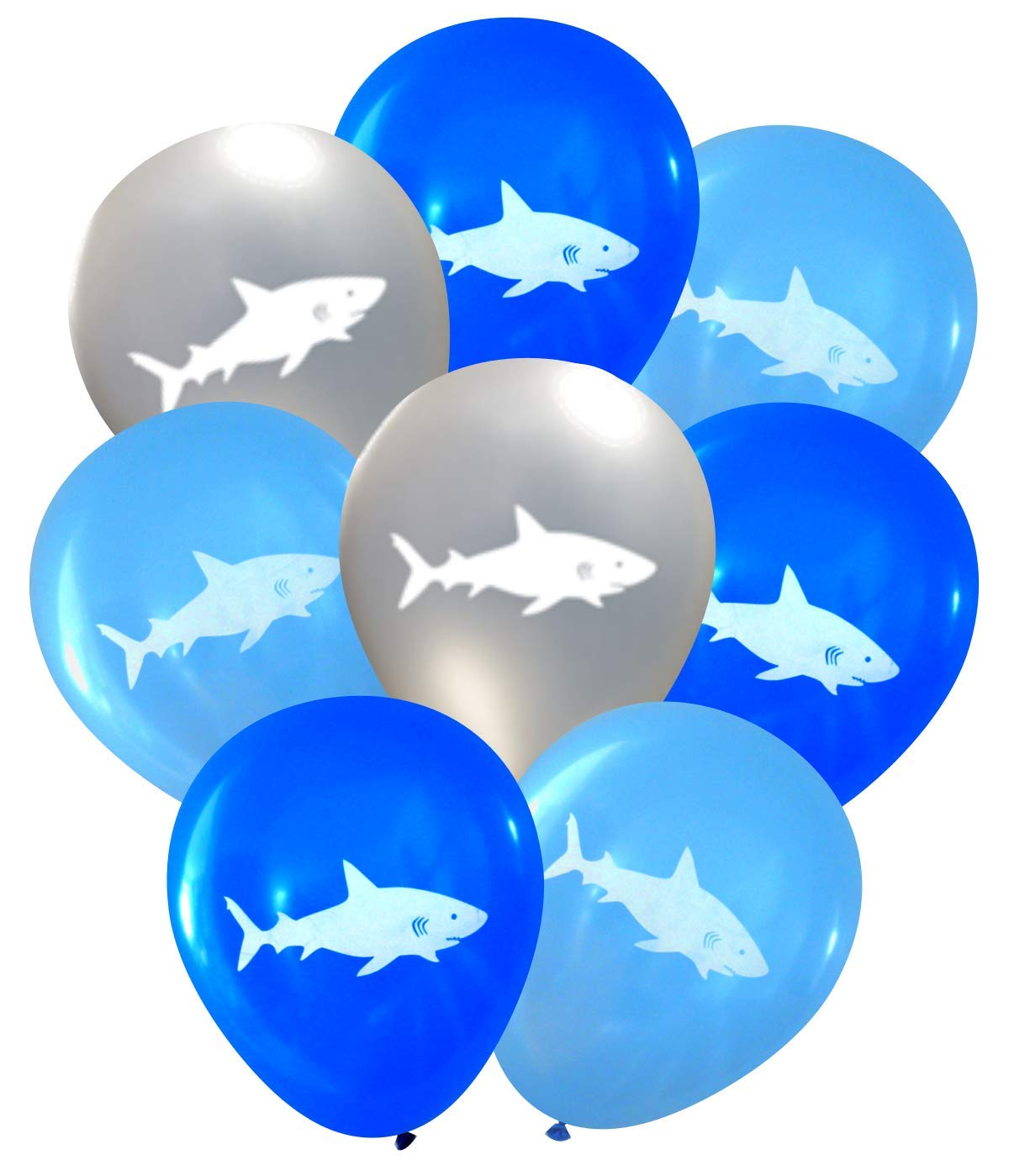 Nerdy Words Shark Latex Balloons (16 pcs) (Blues & Silver)