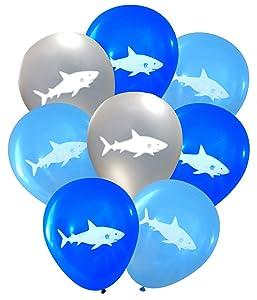Nerdy Words Shark Latex Balloons (16 pcs) (Blues & Silver)