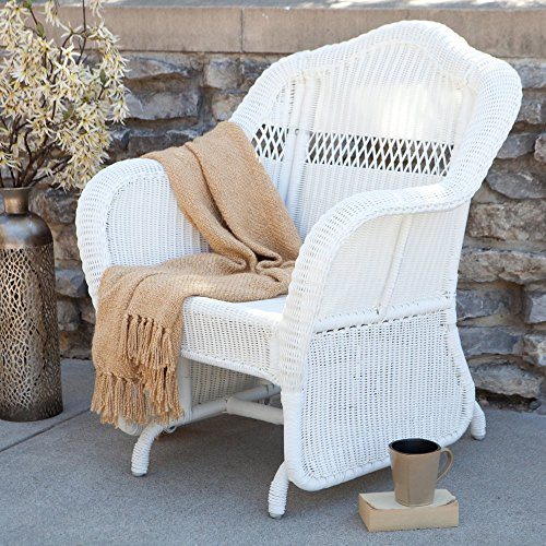 coral coast casco bay resin wicker outdoor glider chair - White Wicker Chair