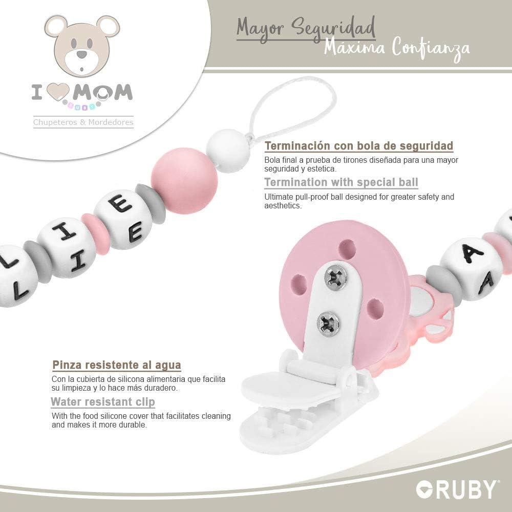 Chupetero Personalizado para Beb/é con Nombre Bola Silicona Antibacteriana con Pinza Redonda de Silicona RUBY Beige
