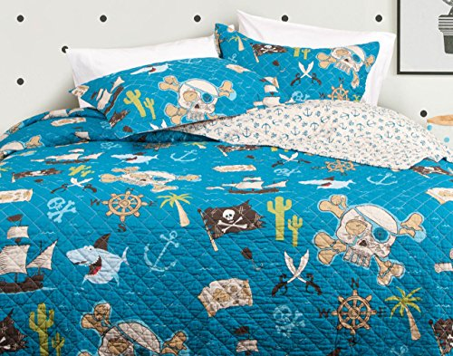 QE Home Pirate Treasure Cotton 3pc Coverlet Set | Queen
