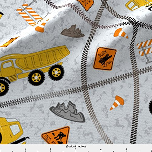 Construction Trucks Fabric Construction Zone (Large Scale) by Gabriellemutel Printed on Fleece Fabric by the Yard by Spoonflower (Eco Truck Excavator)