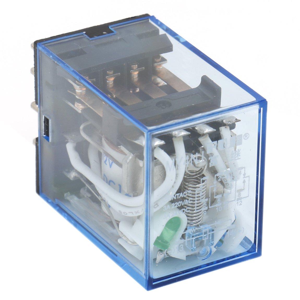 heschen Gereral propósito alimentación del relé MY4NJ 12VDC bobina 3A 220VAC/24VDC 4PDT LED indicador 14pines terminales