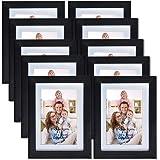 Giftgarden Cornice per Foto da Parete in Legno Sintetico 10x15cm Passepartout Incluso, 13x18cm Senza Passepartout Set di 10, Nero