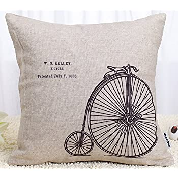 Decorbox Decorative 18 x 18 Inch Linen Cloth Pillow Cover Cushion Case, Penny-Farthing Bicycle