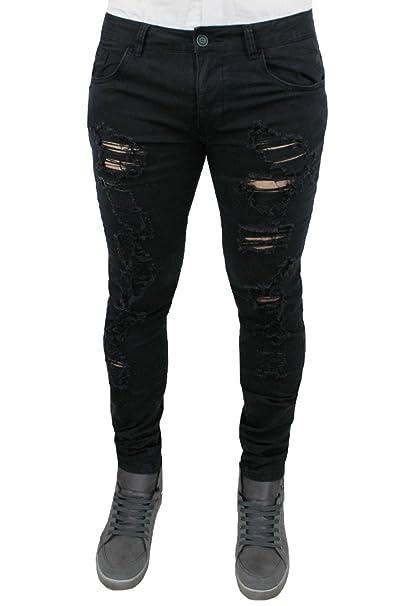 Pantaloni Jeans uomo strappi nero slim fit casual cotone elastico   Amazon.it  Abbigliamento 51e62c3fbff