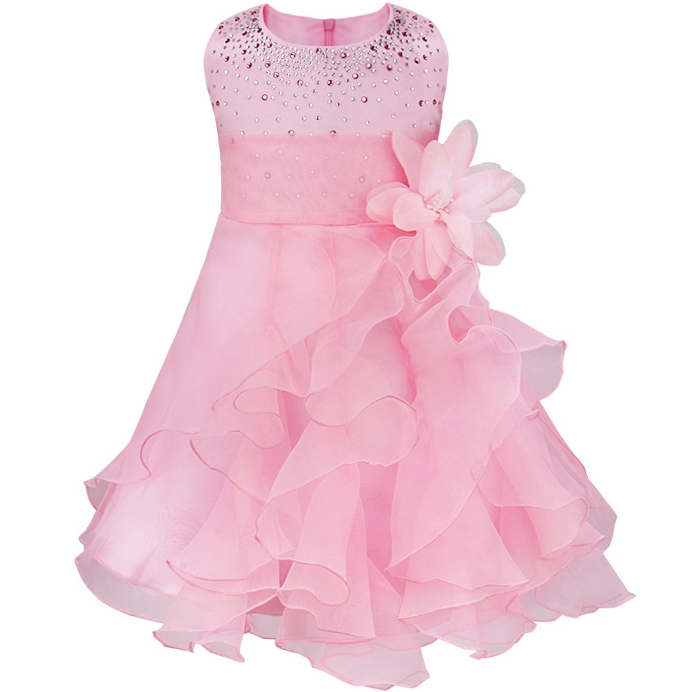 CHICTRY Baby Toddlers Girls Flower Dress Rhinestones Ruffle Baptism Birthday Party Bridesmaid Gown