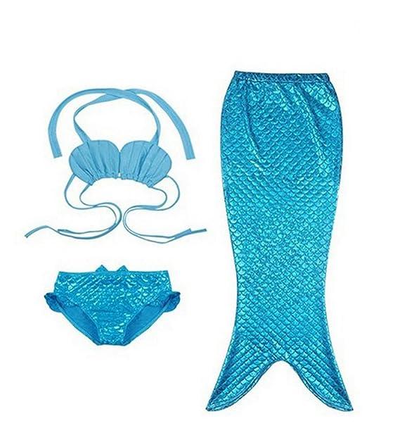 Traje De Baño Sirena para Niños con Bikini Traje De Baño del Mar De Sirena De Cola De Sirena para Nadar Azul 120cm