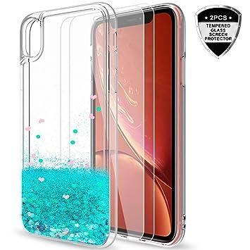 LeYi Funda iPhone XR Silicona Purpurina Carcasa con [2-Unidades Cristal Vidrio Templado],Transparente Cristal Bumper Telefono Gel TPU Fundas Case ...