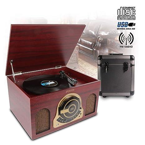 Retro record reproductor Tocadiscos CD USB altavoces de radio y 80 ...