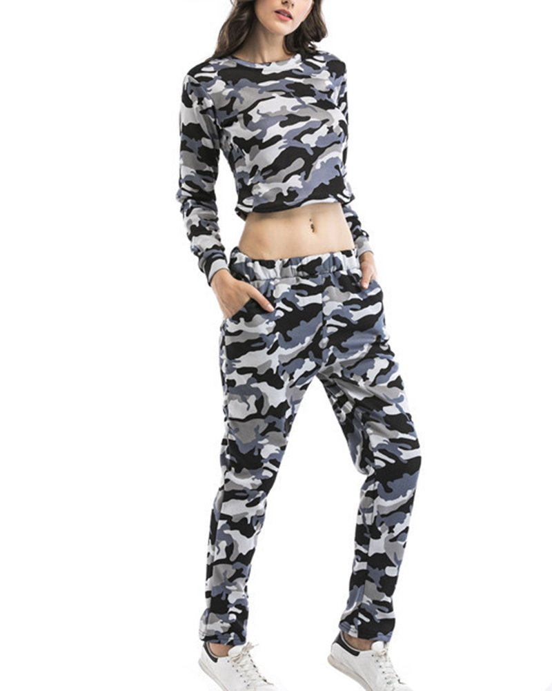 Women's Casual 2 Piece Sportswear with Camo Hooded Crop Top Pants Joggers Set Tracksuit Gray S